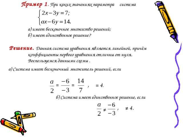 Пример 1. При каких значениях параметра α система а) имеет бесконечное множе...