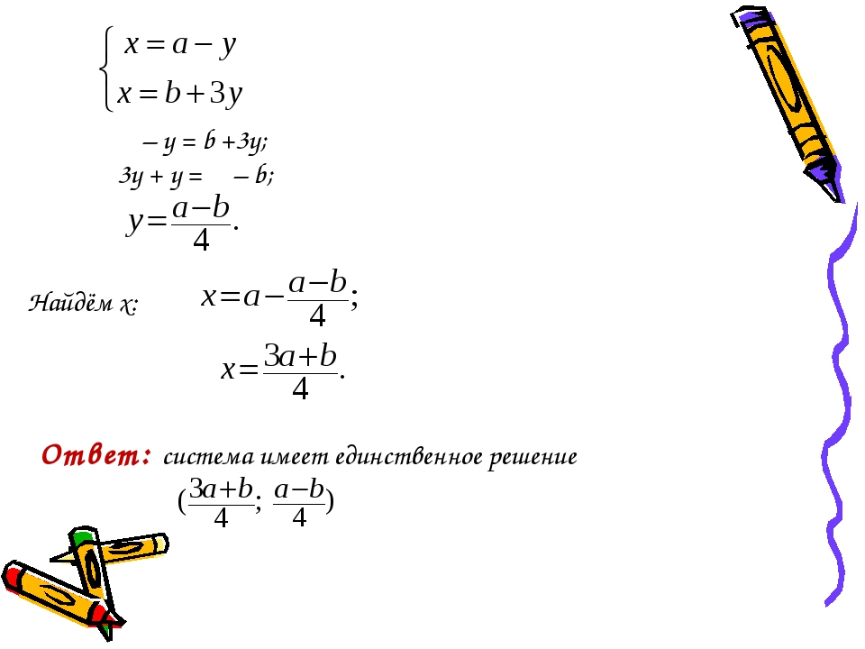 Ответ: система имеет единственное решение Найдём x: α – у = b +3у; 3у + у =...