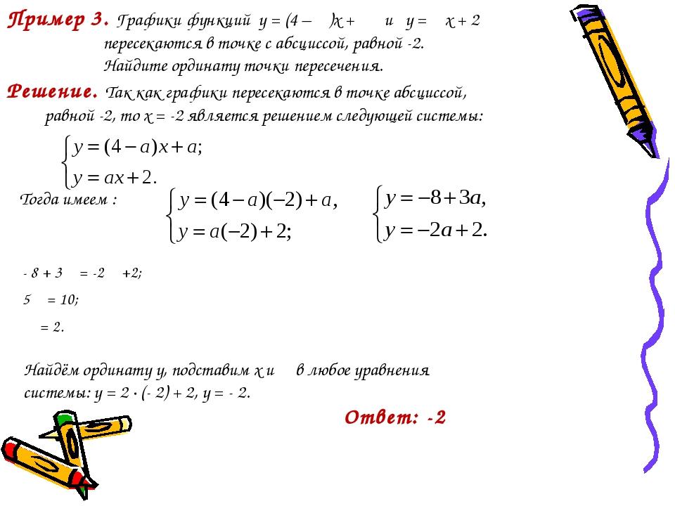 Пример 3. Графики функций у = (4 – α)x + α и у = αx + 2 пересекаются в точке...