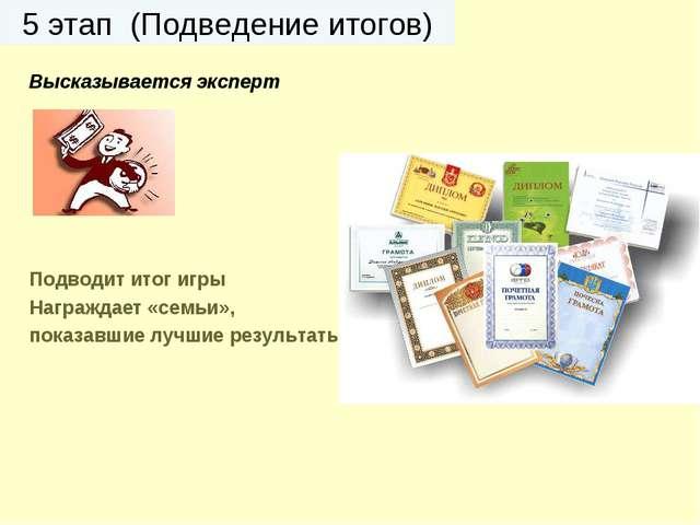 5 этап (Подведение итогов) Высказывается эксперт Подводит итог игры Награждае...