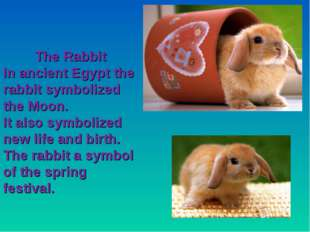 The Rabbit In ancient Egypt the rabbit symbolized the Moon. It also symbolize
