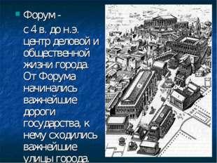 Форум - с 4 в. до н.э. центр деловой и общественной жизни города. От Форума