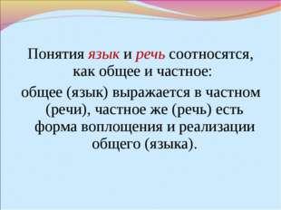 Понятия язык и речь соотносятся, как общее и частное: общее (язык) выражается