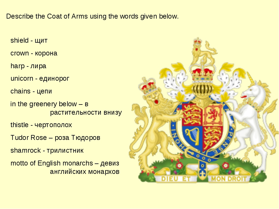 Describe the Coat of Arms using the words given below. shield - щит сrown - к...