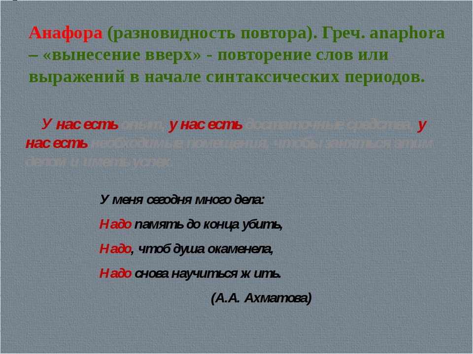 Анафора (разновидность повтора). Греч. anaphora – «вынесение вверх» - повторе...
