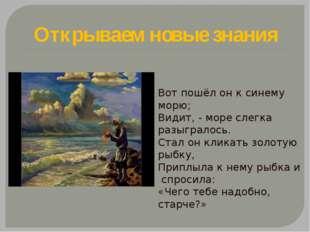 Открываем новые знания Вот пошёл он к синему морю; Видит, - море слегка разыг