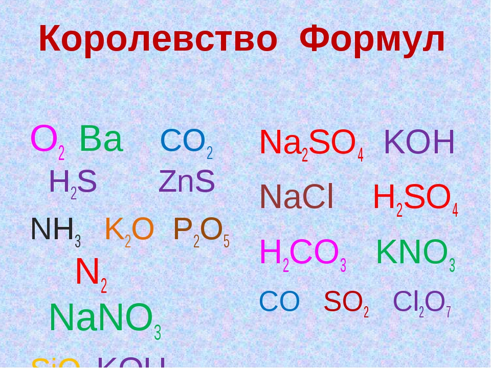 Королевство Формул О2 Ва СО2 Н2S ZnS NH3 K2O P2O5 N2 NaNO3 SiO2 KOH CH4 Na2SO...