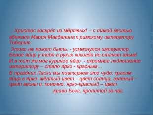 …Христос воскрес из мёртвых! – с такой вестью вбежала Мария Магдалина к римс