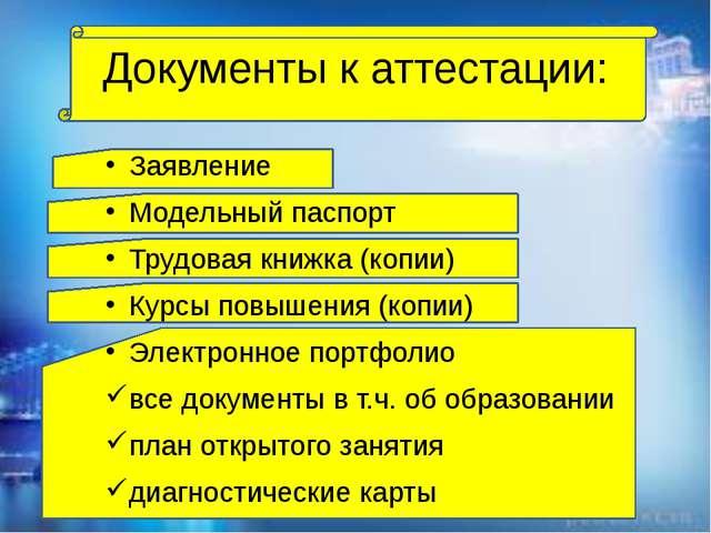 Документы к аттестации: Заявление Модельный паспорт Трудовая книжка (копии)...