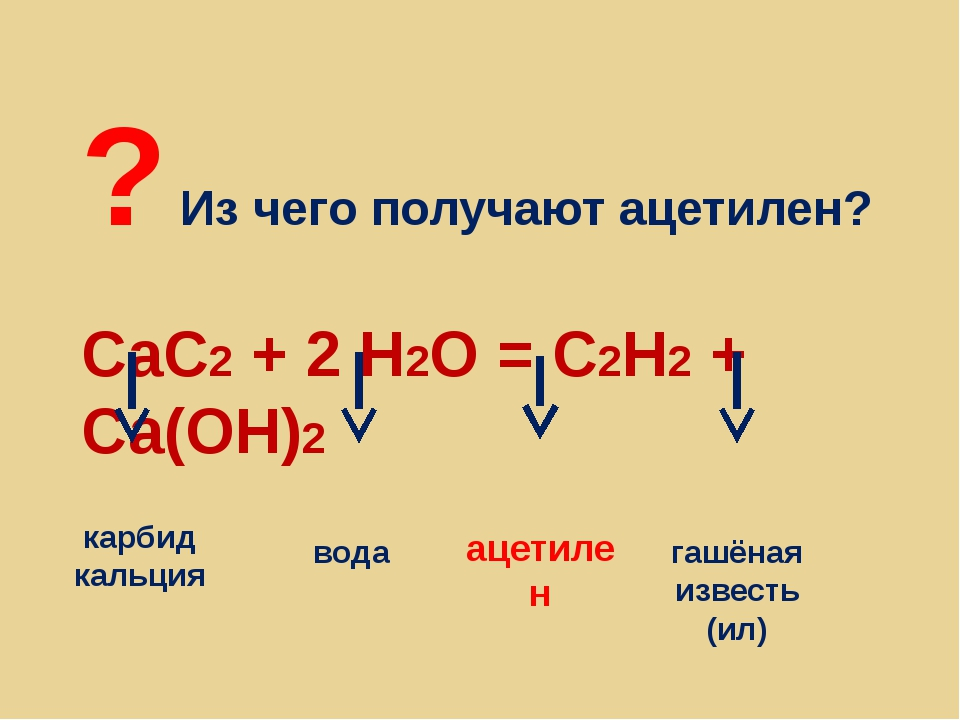 ? Из чего получают ацетилен? CaC2 + 2 H2O = С2Н2 + Са(ОН)2 карбид кальция вод...