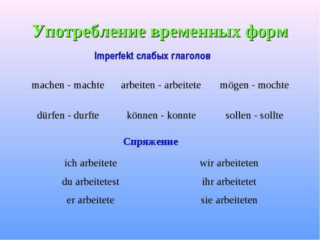 Употребление временных форм Imperfekt слабых глаголов Спряжение machen - mach...