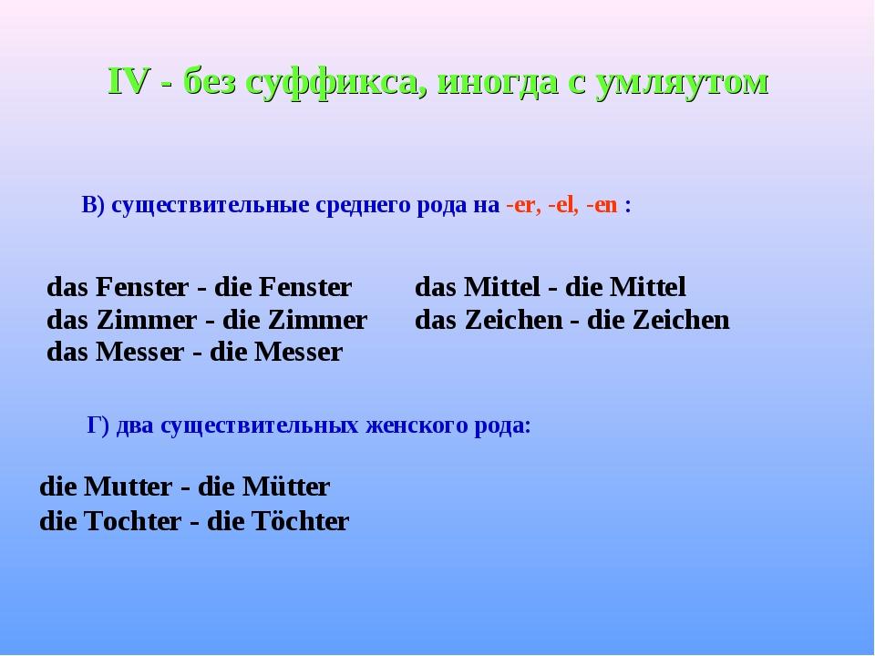 IV - без суффикса, иногда с умляутом В) существительные среднего рода на -er,...