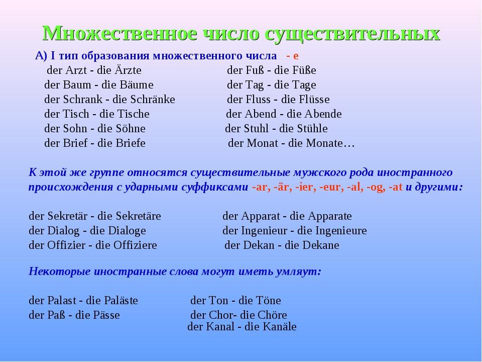 Множественное число существительных А) I тип образования множественного числа...