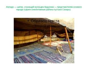 Фелидж — шатер, служащий жилищем бедуинам — представителям кочевого народа ту