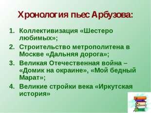 Хронология пьес Арбузова: Коллективизация «Шестеро любимых»; Строительство ме