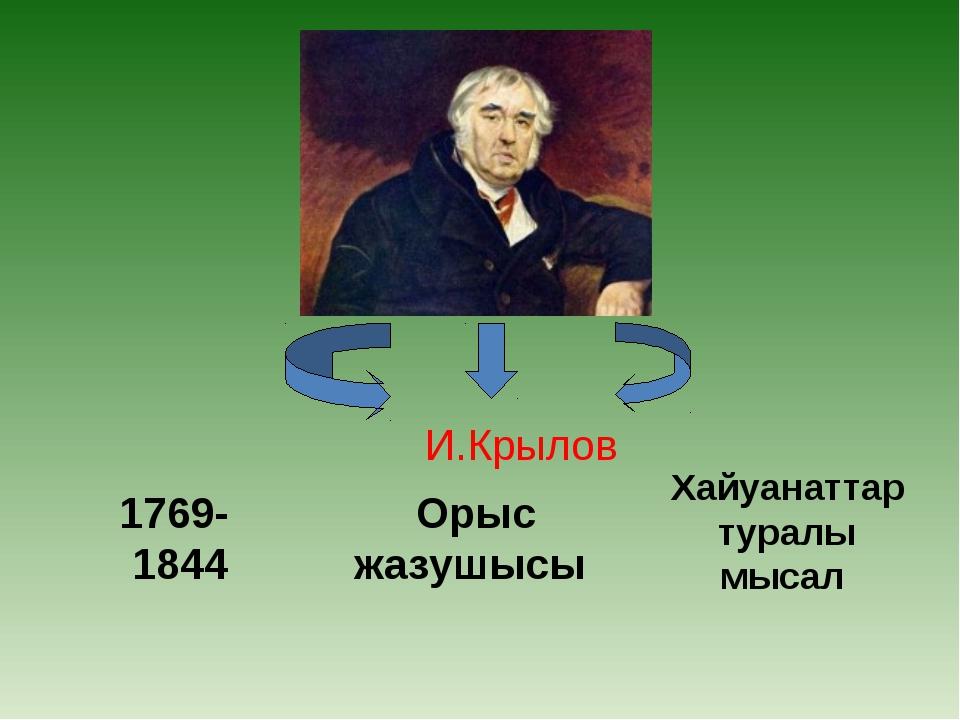 1769- 1844 Орыс жазушысы Хайуанаттар туралы мысал И.Крылов