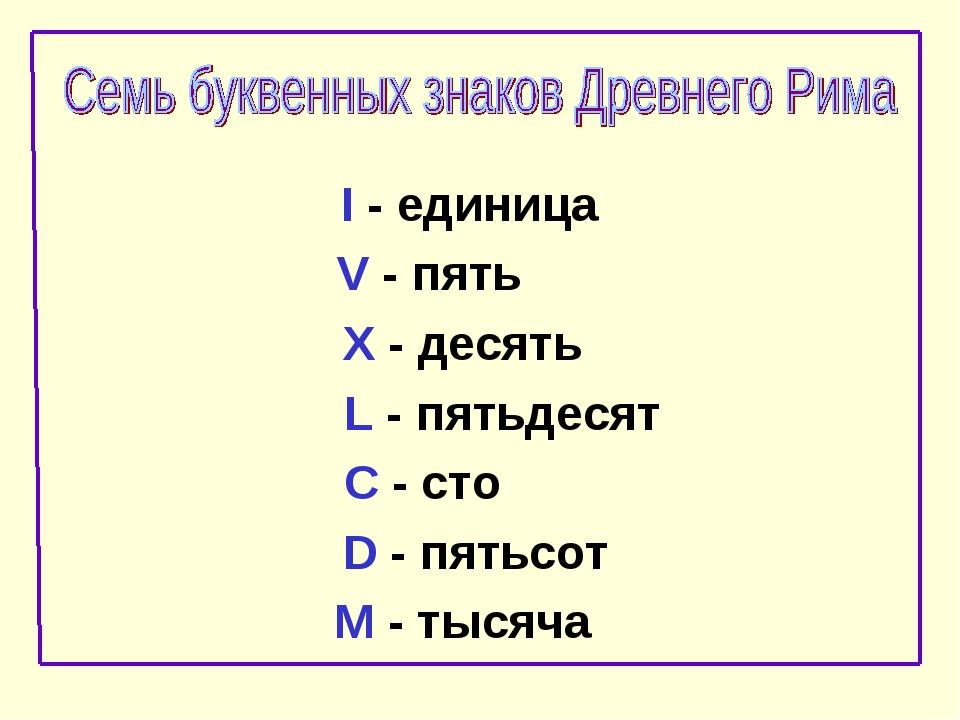 I - единица V - пять X - десять L - пятьдесят C - сто D - пятьсот M - тысяча