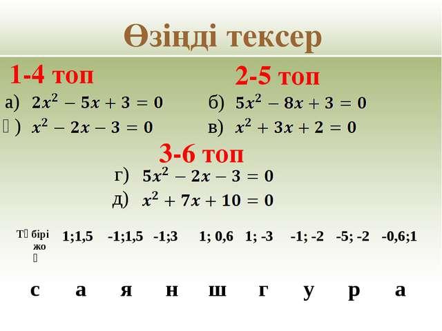 Жаңа тәсіл және қорытынды Теңдеулер Коэффициенттеріқосындысы а + в + с Түбір...