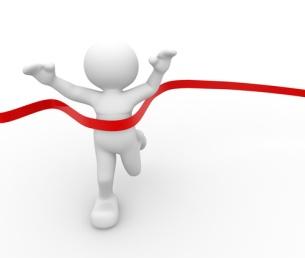 3d человек - человек, человек пересекает финишную линию. Фотография, картинки, изображения и сток-фотография без роялти. Image 1