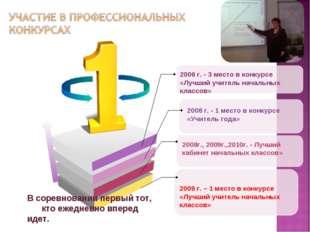 2009 г. – 1 место в конкурсе «Лучший учитель начальных классов» 2006 г. - 3