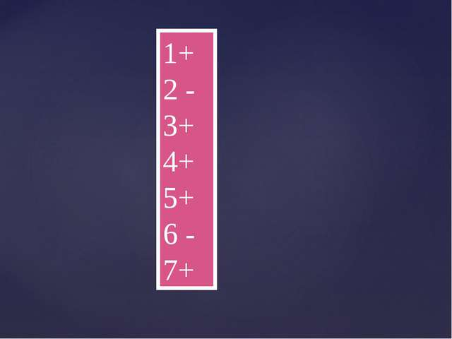 1+ 2 - 3+ 4+ 5+ 6 - 7+