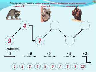 9 4 7 Указание: - 8 - 6 - 5 + 9 + 3 Реши цепочку и ответь: - Какое животное н