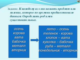 Задание. К каждому из слов назвать предмет или явление, которое по времени пр