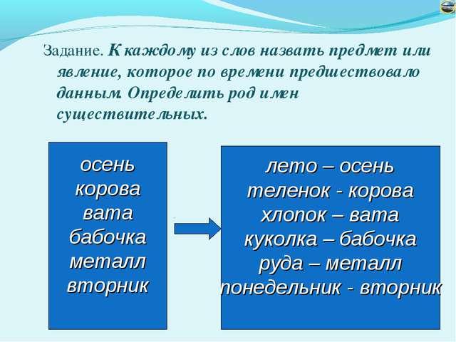 Задание. К каждому из слов назвать предмет или явление, которое по времени пр...