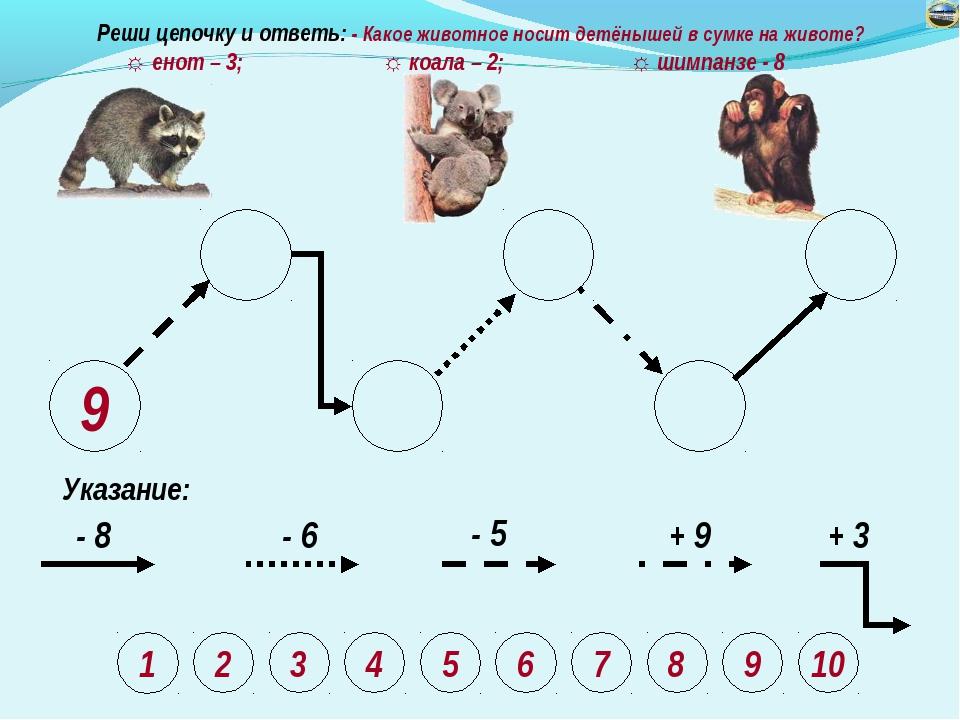 9 Указание: - 8 - 6 - 5 + 9 + 3 Реши цепочку и ответь: - Какое животное носит...