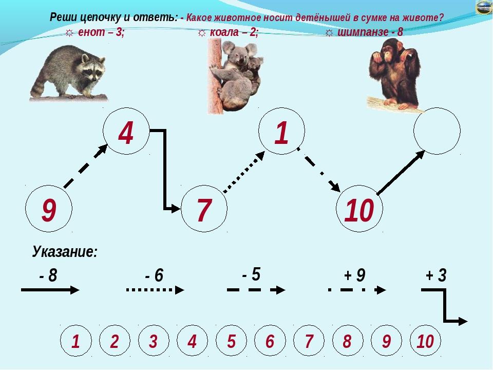 9 4 7 1 10 Указание: - 8 - 6 - 5 + 9 + 3 Реши цепочку и ответь: - Какое живот...