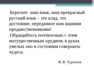 Берегите наш язык, наш прекрасный русский язык – это клад, это достояние, пе