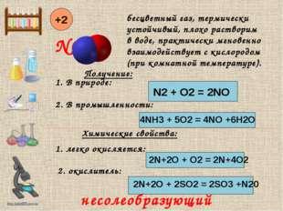 NO +2 Получение: 1. В природе: N2 + O2 = 2NO 2. В промышленности: 4NH3 + 5O2