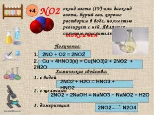 NO2 +4 Получение: 1. 2NO + O2 = 2NO2 2. Cu + 4HNO3(к) = Cu(NO3)2 + 2NO2 + 2H