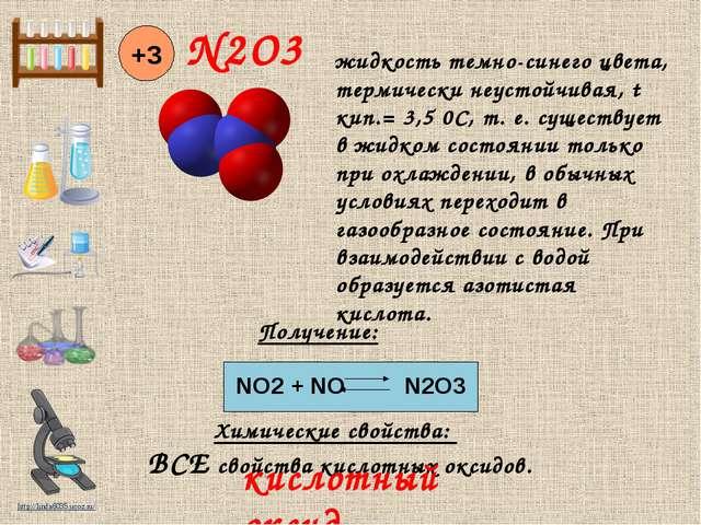 N2O3 +3 Химические свойства: NO2 + NO N2O3 Получение: ВСЕ свойства кислотных...