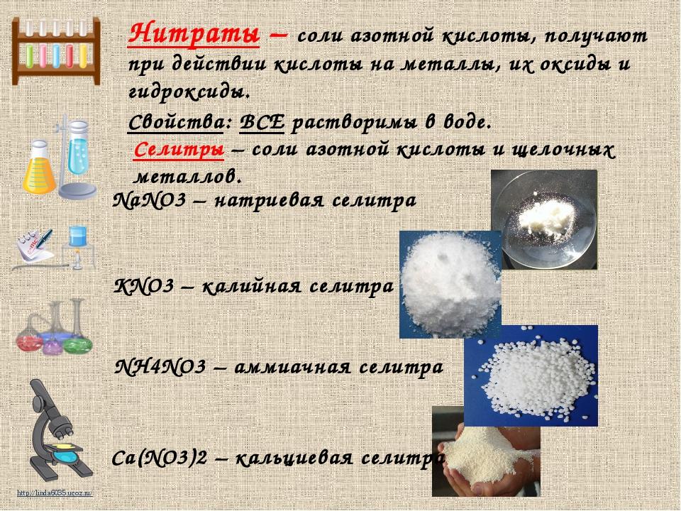 Нитраты – соли азотной кислоты, получают при действии кислоты на металлы, их...