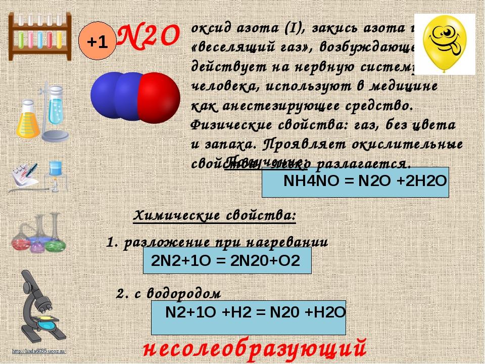 Получение: NH4NO = N2O +2H2O Химические свойства: 1. разложение при нагреван...