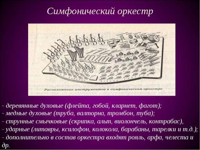 Симфонический оркестр - медные духовые (труба, валторна, тромбон, туба); - ст...