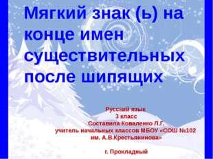 Мягкий знак (ь) на конце имен существительных после шипящих Русский язык 3 к