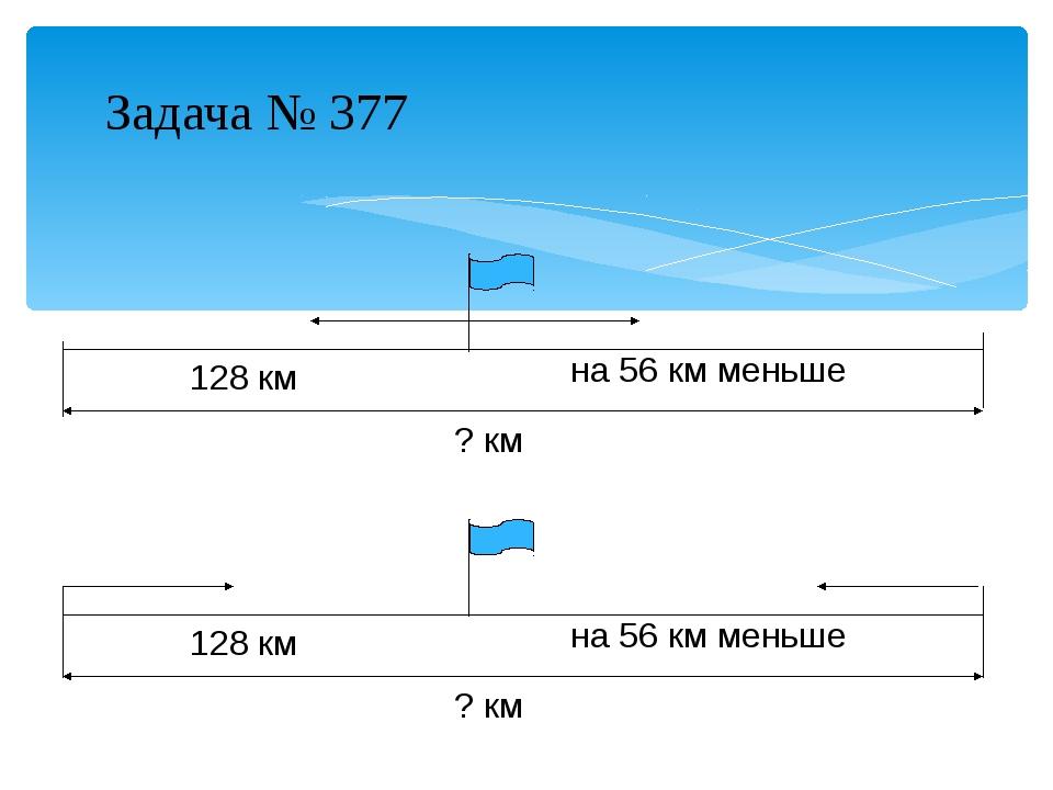 Задача № 377 ? км 128 км на 56 км меньше ? км 128 км на 56 км меньше
