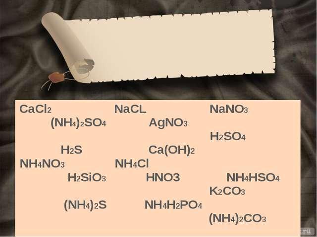 CaCl2 (NH4)2SO4 H2S NH4NO3 H2SiO3 (NH4)2S NaCL AgNO3 Ca(OH)2 NH4Cl HNO3 NH4H...