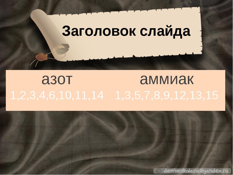 Заголовок слайда азотаммиак 1,2,3,4,6,10,11,141,3,5,7,8,9,12,13,15