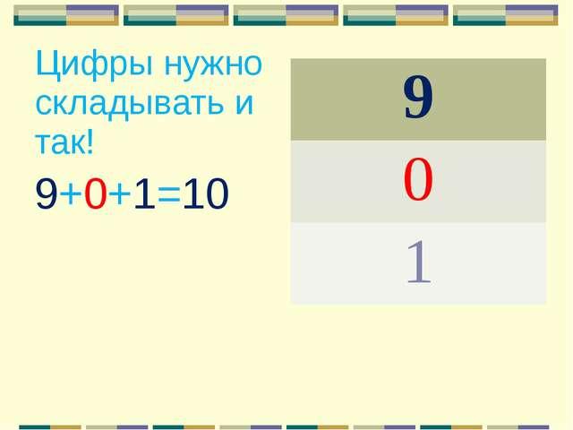 Цифры нужно складывать и так! 9+0+1=10 9 0 1