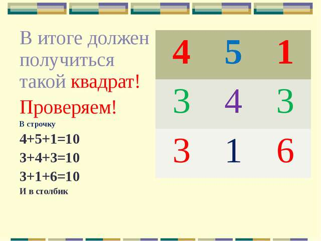 В итоге должен получиться такой квадрат! Проверяем! В строчку 4+5+1=10 3+4+3...