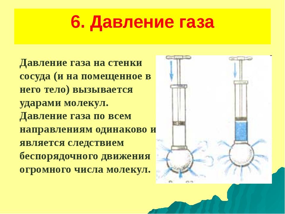 6. Давление газа Давление газа на стенки сосуда (и на помещенное в него тело)...