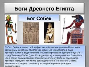 собек Бог Собек Собек, Себек, в египетской мифологиии бог воды и разлива Нила