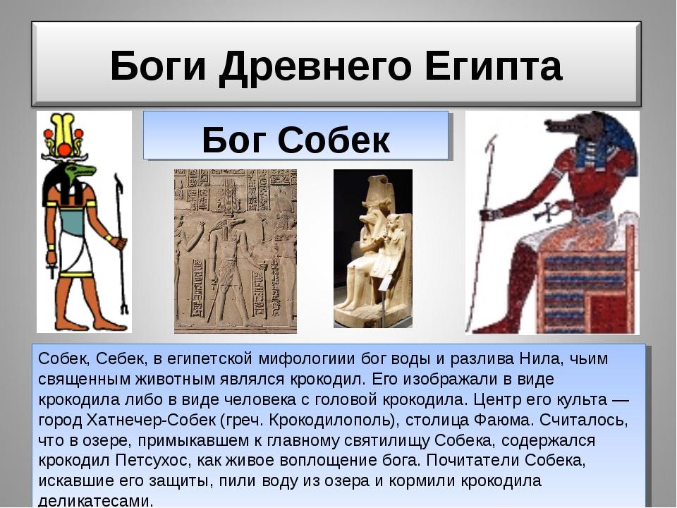 собек Бог Собек Собек, Себек, в египетской мифологиии бог воды и разлива Нила...
