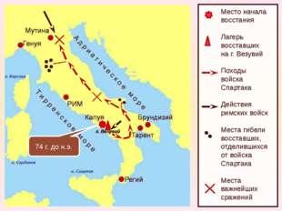 Место начала восстания Лагерь восставших на г. Везувий Походы войска Спартак