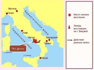 Место начала восстания Лагерь восставших на г. Везувий Действия римских войс