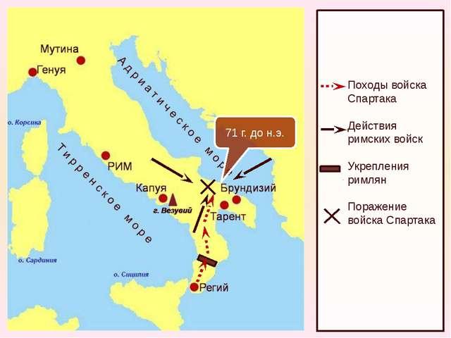 71 г. до н.э. Походы войска Спартака Действия римских войск Укрепления римля...