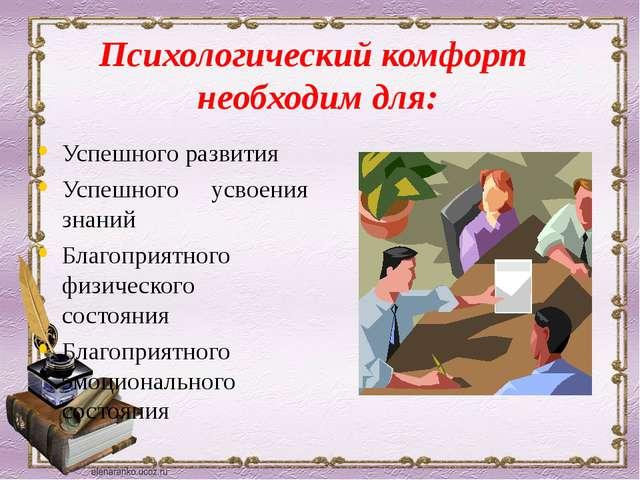 Психологический комфорт необходим для: Успешного развития Успешного усвоения...
